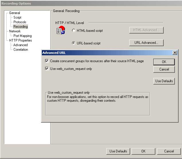 VuGen Recording Settings > URL-based script > Use web_custom_request only